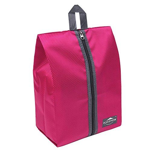 DOKEHOM DKA3030DPG1 Portable Nylon Travel Shoe Storage Organizer Bag (8 Colors) with Zipper Closure (Pack 4, Dark Pink) by DOKEHOM (Image #6)