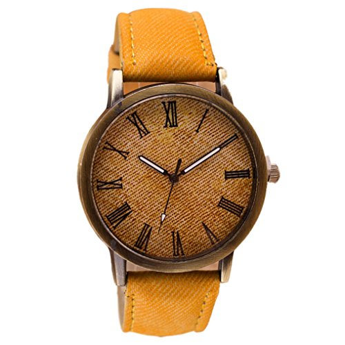 Rumas Men Retro Wrist Watch Cowboy Leather Band Analog Quartz Watch (Acrylic Date Watch)