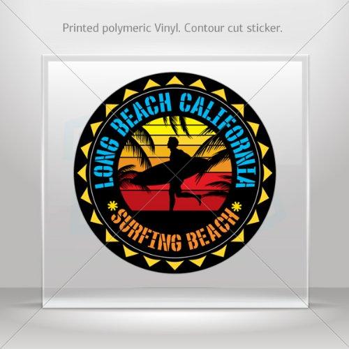 Sticker Decal Long Beah California Souvenir Memorabilia Surfing Beach (10 X 10 Inches)