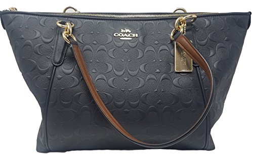 Coach AVA Leather Shopper Tote Bag Handbag (Midnight (Embossed Leather Shopper)