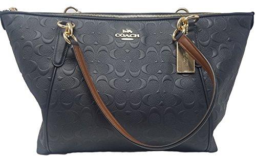 Embossed Bag (Coach AVA Leather Shopper Tote Bag Handbag (Midnight Embossed))
