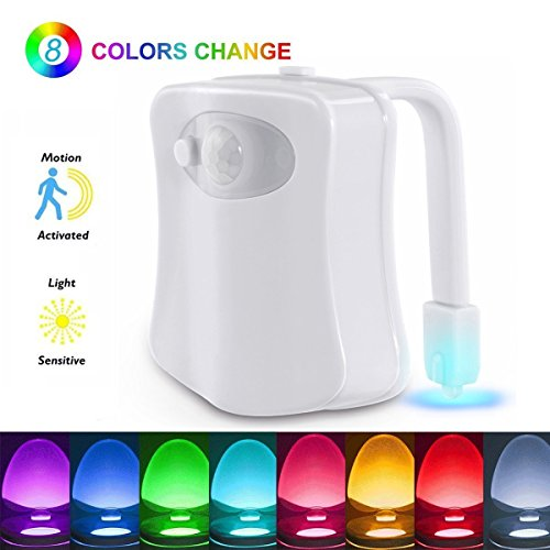The Original Toilet Night Light Gadget, Fun Bathroom Lighting Add on Toilet Bowl Seat, Motion Sensor Activated LED 9 Color Modes - Weird Novelty Funny Birthday Gag Gifts for Men, Dad, Kids & Toddlers ()