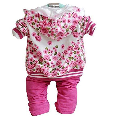 Diamondo Baby Girls Peony Coat + Long Sleeve T-shirt+ Pants Clothes Set (90:12-24M, Rose Red)