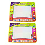 "Aqua Doodle Mat(2 Packs), Amytalk 4 Color Children Water Drawing Mat Board & Magic Pen Doodle Kids Educational Toy Gift 31.5"" x 23.62"""