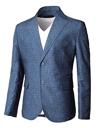 Navy Wool Sport Coat - H2H Mens Single Breasted 2 Button Navy Blue Wool Blazer Sport Coat Jacket Blue US L/Asia XL (KMOBL0121)