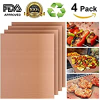 4-Pack Tacklife Heavy Duty Non-Stick BBQ Grill Mat (Copper)