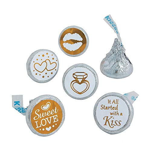 Gold & White Wedding Stickers for Hershey's® Kisses® – 60 pc