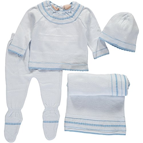 - Boutique Collection Baby Boys Layette Set- Shirt, Pants, Hat, and Blanket Set - Great Gift Item (6M)