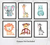 nursery room ideas Safari Animals Watercolor Wall Art Prints: Adorable Nursery Room Decor - Set of Six (8x10) Unframed Pictures - Great Gift Idea for Nursery and Kids Room