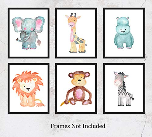 Safari Animals Watercolor Wall Art Prints: Adorable Nursery Room Decor - Set of Six (8x10) Unframed Pictures - Great Gift Idea for Nursery and Kids Room