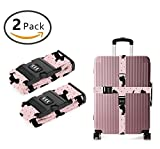 YEAHSPACE Cotton Scottish Luggage Straps Suitcase Belt TSA Approved Combination Lock Travel Accessories 2-Pack