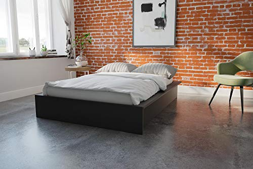 DHP Maven Upholstered Bed, Black, - Drawers Pedestal Bed