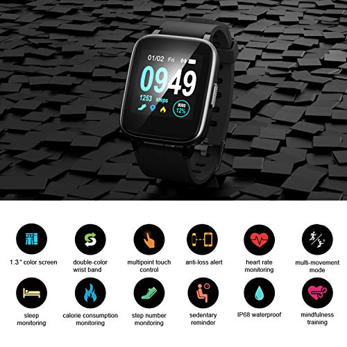 Updated 2019 Version Smart Watch for Android iOS Phone, Activity Fitness  Tracker Watches Health Exercise Smartwatch with Heart Rate, Sleep Monitor