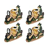 Aspen Creative 60900-4 Four Pack Set, Frog on a Motorcycle Solar LED Accent Light Statue, 10'' Length