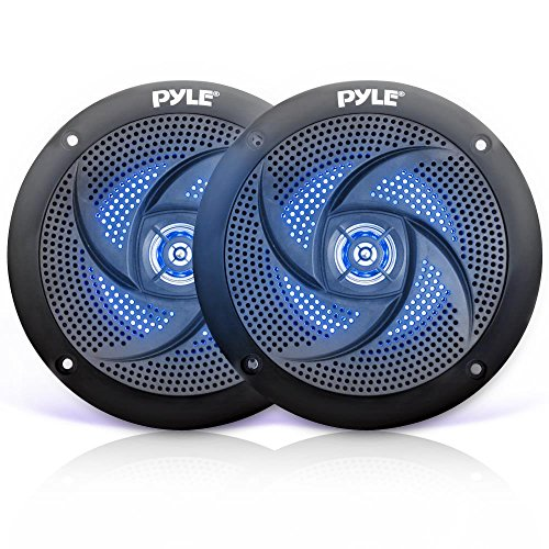 180w Two Way Speakers - Pyle Marine Speakers - 5.25 Inch 2 Way Waterproof and Weather Resistant Outdoor Audio Stereo Sound System with LED Lights, 180 Watt Power and Low Profile Slim Style - 1 Pair - PLMRS53BL (Black)