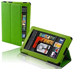splash SAFARI Slim-Profile Leather Case Cover fits the Amazon Kindle FIRE with Stand GREEN