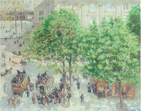Perfect Effect Canvas ,the Beautiful Art Decorative Prints On Canvas Of Oil Painting 'Place Du Theatre-Francais. Spring,1898 By Camille Pissarro', 12x15 Inch / 30x39 Cm Is Best For Bedroom Artwork And Home Artwork And Gifts
