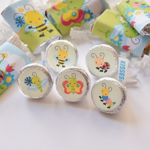 (324 Cute Garden Bugs Labels Stickers for Hershey's® Kisses, Garden Birthday Favor)