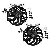 "Set of 2 Universal 12"" inch Slim Fan Push Pull Electric Radiator Cooling 12V Mount Kit"