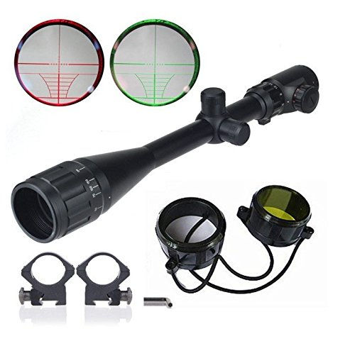 BeamQ Long Range Rifle Scopes 6-24x50mm AOEG Red/Green Illuminated Mil-dot Reticle Crosshair by BeamQ