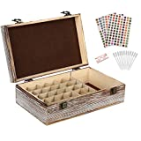 Essential Oil Storage Box – 30 Slots for 5ml, 10ml and 15ml Bottles– Wooden Organizer with Carry Handle – Includes FREE ACCESSORIES Habom