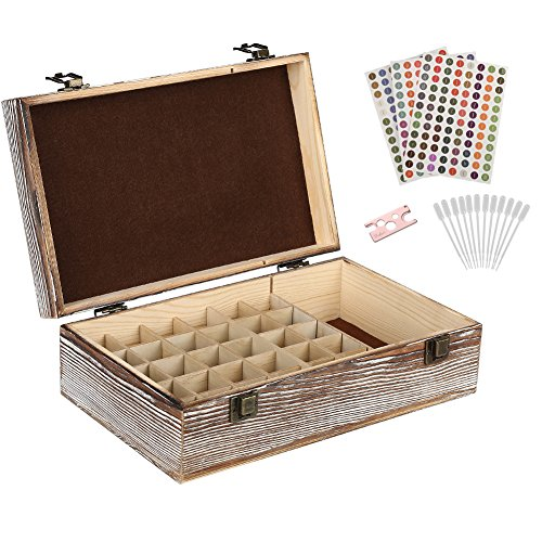 e Box – 30 Slots for 5ml, 10ml and 15ml Bottles– Wooden Organizer with Carry Handle – Includes FREE ACCESSORIES Habom ()