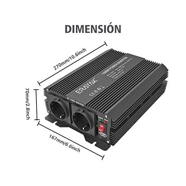 51J9QGNAo4L ERAYAK Spannungswandler 12v 230v 1500W/3000W KFZ Wechselrichter 12v auf 230v Power Solar Inverter DC AC 12v steckdose…