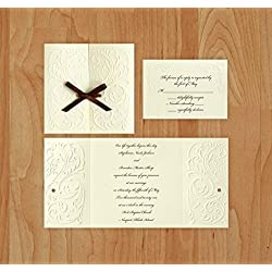 Versailles Wedding Invitation & RSVP with Envelopes - Ecru - Set of 25 - AV1172