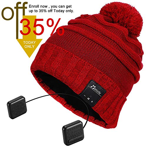 Bluetooth Beanie Hat, Topple Superior CSR Wireless Bluetooth Headphone Beanie with HD Stereo Earphone Speaker &Mic,Unisex Washable Men Women Winter Outdoor Fitness-TB206RP-Red