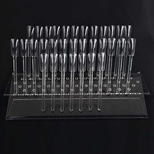 64 UV gel Nail Art Acrylic Tips Samples Sticks Nail Display Stand Rack Practice Tool Clear