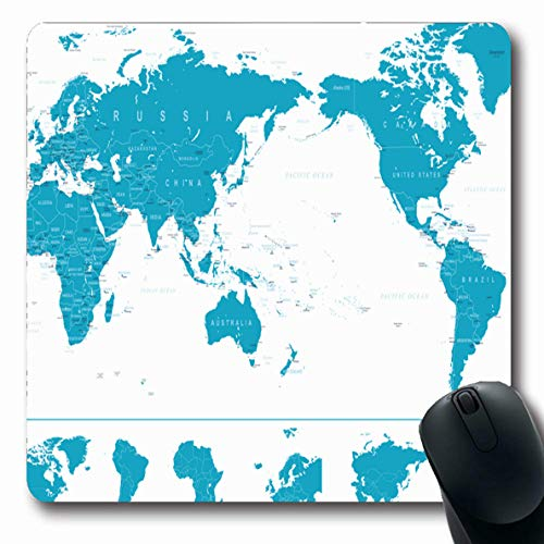 Ahawoso Mousepads for Computers Blue Africa Political World Map Pacific Europe Centered Continents Asia Globe Center Detailed Design Oblong Shape 7.9 x 9.5 Inches Non-Slip Oblong Gaming Mouse ()