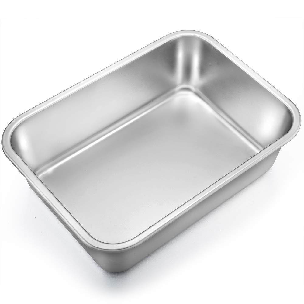 TeamFar Lasagna Pan, Rectangular Cake Pan Brownie Bake Dish Stainless Steel, 13''×10''×3.25'', Heavy Duty & Healthy, Deep Side & Brushed Surface, Easy Clean & Dishwasher safe by TeamFar