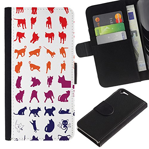 OMEGA Case / Apple Iphone 6 4.7 / red white blue cat pattern kitten feline / Cuir PU Portefeuille Coverture Shell Armure Coque Coq Cas Etui Housse Case Cover Wallet Credit Card