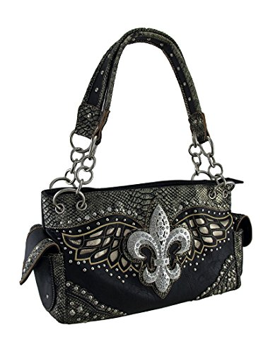 - Rhinestone Fleur De Lis Metallic Trim Studded Concealed Carry Purse