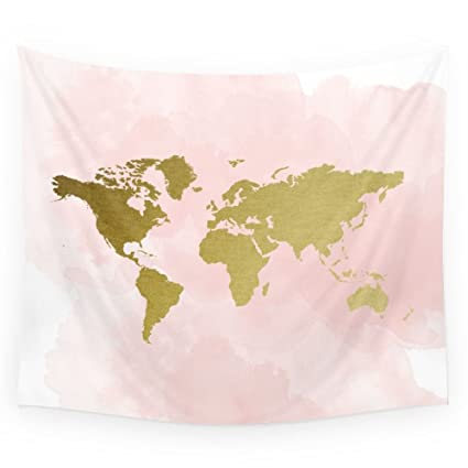 Amazon society6 gold world map poster wall tapestry small 51 society6 gold world map poster wall tapestry small 51quot gumiabroncs Image collections