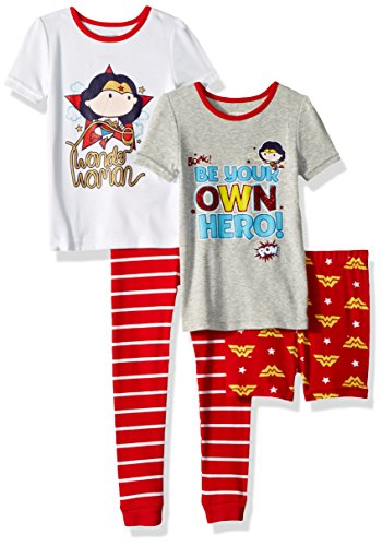 Justice League Girls' Toddler Wonder Woman Chibi 4 Piece Cotton Set, red, 4T -
