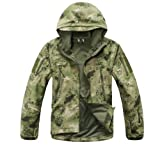 ESDY Noga Men Outdoor Hunting Camping Waterproof Coats Soft Shell Ruins Camouflage Jacket Hoodie (Ruins green camouflage, XL)