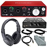 Focusrite Scarlett 2i2 USB Audio Interface (2nd Generation) and Rolls PM351 Personal Monitor Station for Musicians Deluxe Bundle