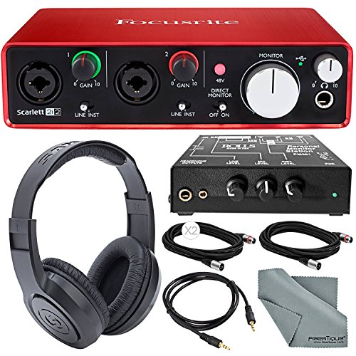 Focusrite Scarlett 2i2 USB Audio Interface (2nd Generation) and Rolls PM351  Personal Monitor Station for Musicians Deluxe Bun