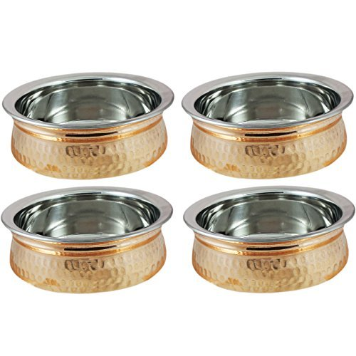 Set of 4 - Copper Tableware Serving Bowl - Indian Serveware Set - Dia 5 Inches