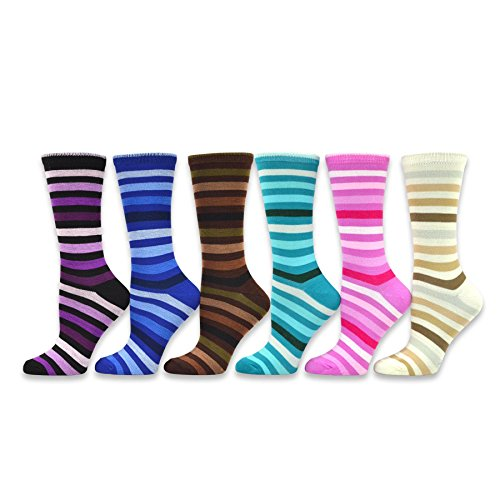 TeeHee Women's Ladies Value 6-Pack Crew Socks (Tonal Thin Stripe)