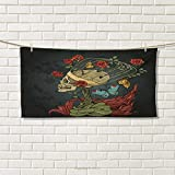 Chaneyhouse Skull,Hand Towel,Evil Mexican Sugar Skeleton with Kitsch Bush of Roses Snake and Butterfly Artwork,Quick-Dry Towels,Ruby Dark Grey Size: W 20'' x L 20''