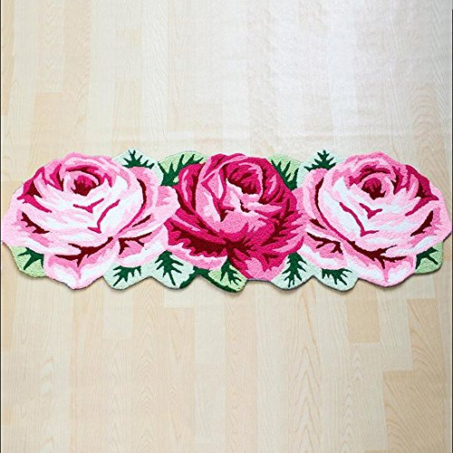HOMEE Water absorption thicker roses non-slip home carpet living room bedroom bed blanket bathroom foot pad,45Cm160Cm by HOMEE