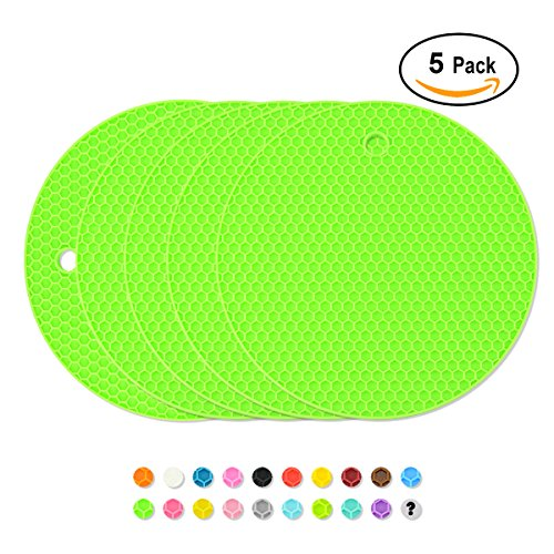 Green Insulated Pan - Silicone Coasters Pot Holder Thick Nonslip Trivets Heat Insulated Pads, Cup & Pans Mat, Jar Opener, Multipurpose for Kitchen & Home, Pack of 5, Green