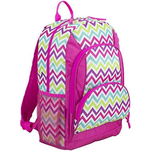 Eastsport Multi Pocket School Backpack, Hot Pink/Spike Chevron Print