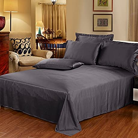 Lilysilk US1011 15 SK 100 Mulberry Flat Sheet 22 Momme Pure Silk Twin 66 X 96 Charcoal Purple