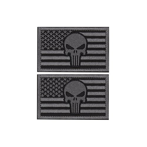 EJG Bundle 2 pieces- Punisher Skull USA Flag Tactical Patch (3 2 Inches) Military Velcro Patch Morale Patch (Gray)