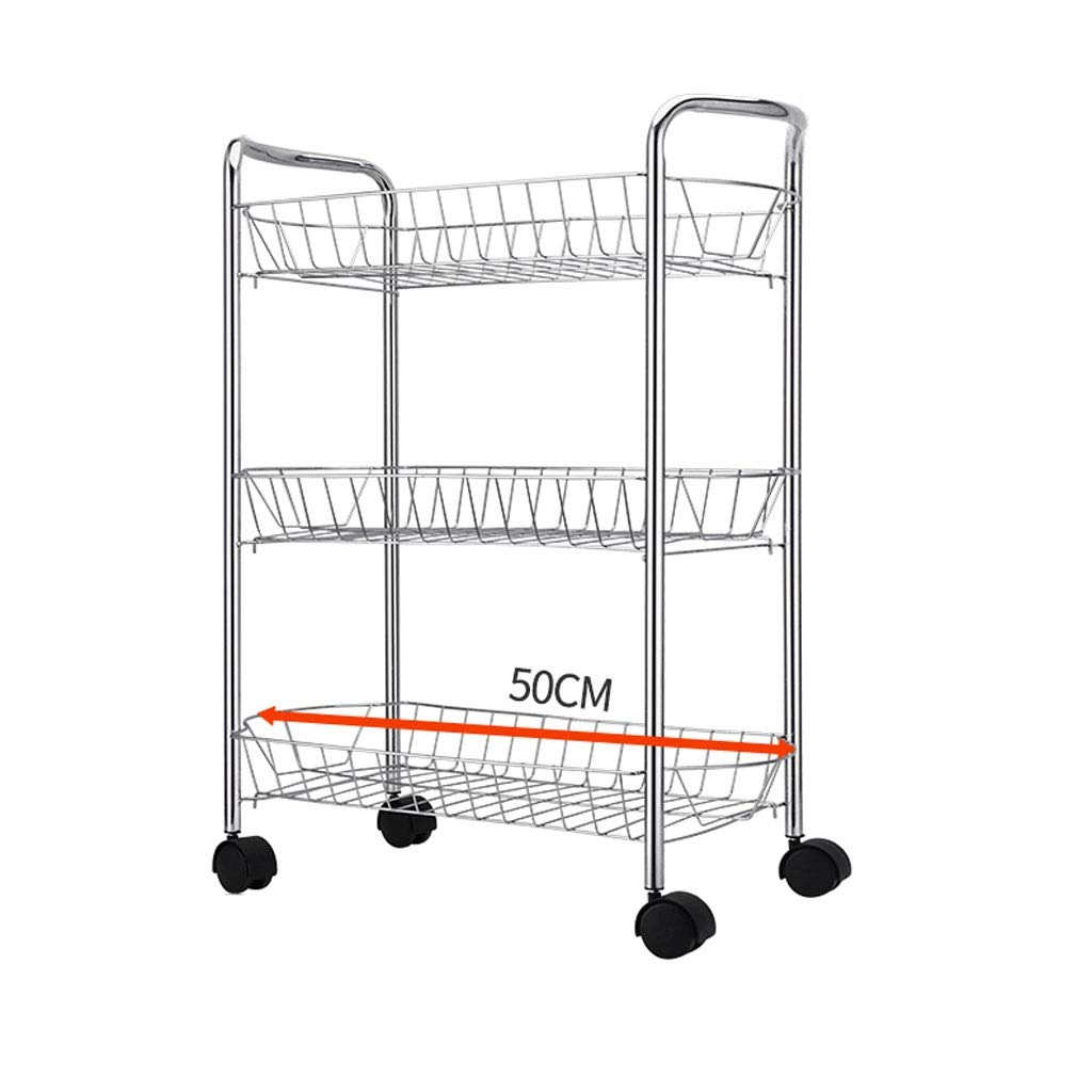 Three floors Metal Storage Cart Multi-Function Multi-Layer Floor Storage Rack Mobile Kitchen Tool Supplies Racks Basket Large Capacity Stand-up Shelves (Size   Three Floors)