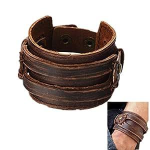 Amazon.com: Brown Leather Men's Cuff Bracelet: Jewelry