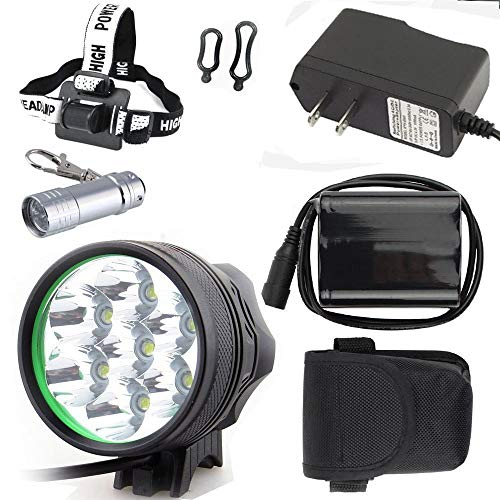 Constefire Bicycle Light 7X XML U2 Bicycle Lights ,(9800lm,7 LED,3 Modes),Headlight, Head lamp with 6PCS 18650 Rechargeable Li-thium Batteries Packing ; Including 2 PCS Fashion Bicyle ()
